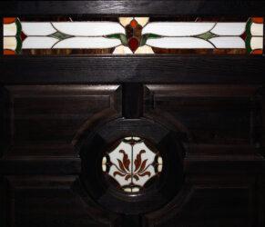 balustrada lemn cu vitraiu