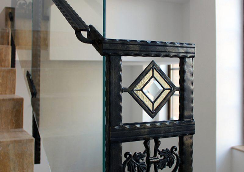 balustrada din fier forjat si sticla - detaliu 3